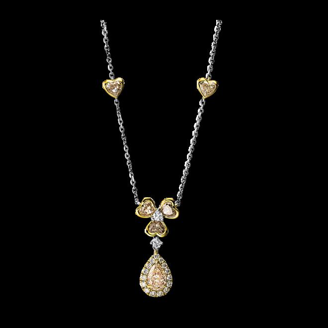 Halskette mit Anhänger Brogle Selection Statement aus 750 Gelbgold und 750 Weißgold mit 23 Brillanten (2 Karat) bei Brogle