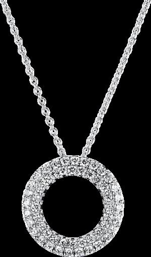 Halskette mit Anhänger Brogle Selection Statement Kreis aus 750 Weißgold mit 52 Brillanten (0,41 Karat)