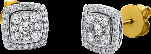 Ohrstecker Brogle Selection Statement aus 750 Gelbgold und 750 Weißgold mit 66 Brillanten (2 x 0,5 Karat)