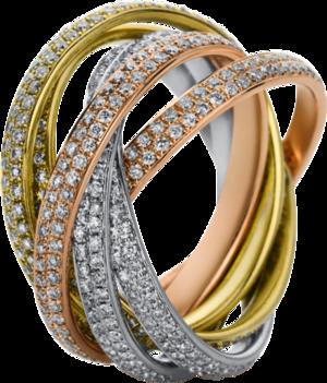 Ring Brogle Selection Statement aus 750 Weißgold, 750 Gelbgold und 750 Roségold mit 672 Brillanten (4,16 Karat)