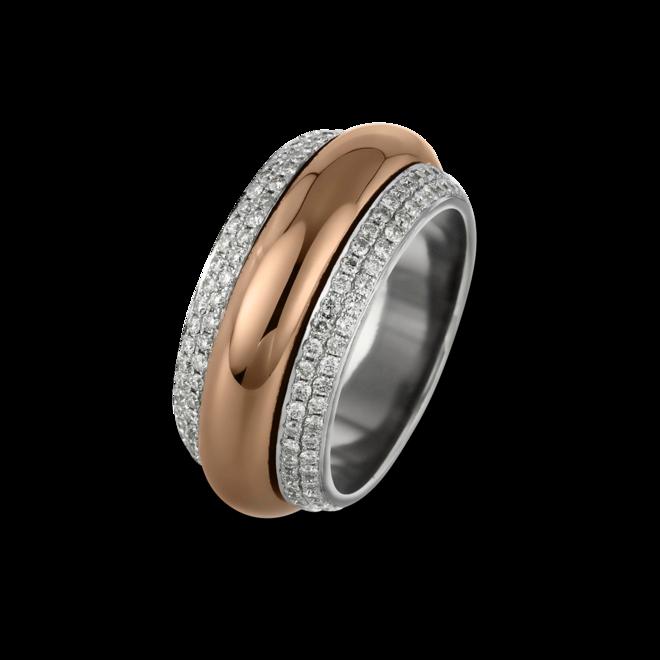 Ring Brogle Selection Statement aus 750 Weißgold und 750 Roségold mit 204 Brillanten (1,43 Karat)