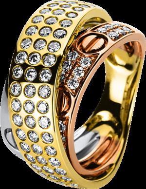 Ring Brogle Selection Statement aus 750 Weißgold, 750 Gelbgold und 750 Roségold mit 75 Brillanten (1,16 Karat)