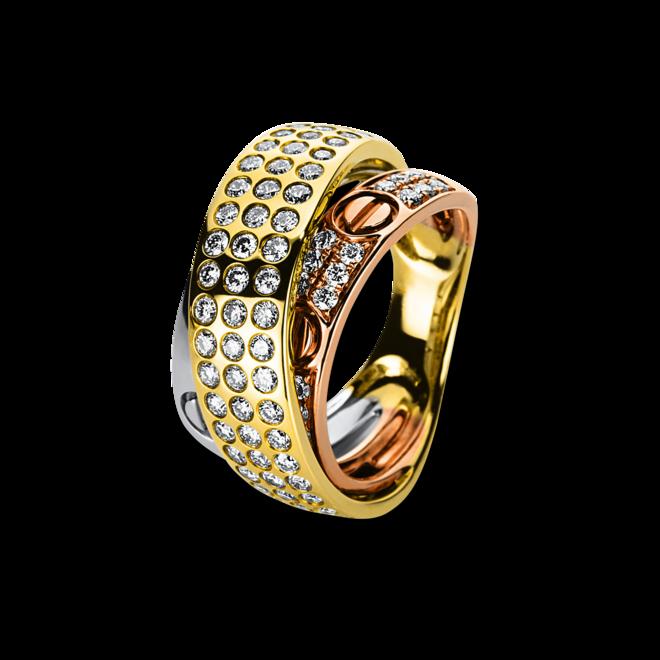 Ring Brogle Selection Statement aus 750 Weißgold, 750 Gelbgold und 750 Roségold mit 75 Brillanten (1,16 Karat) bei Brogle
