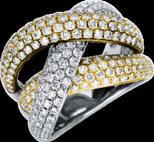 Ring Brogle Selection Statement aus 750 Gelbgold, 750 Roségold und 750 Weißgold mit 250 Brillanten (3,2 Karat)