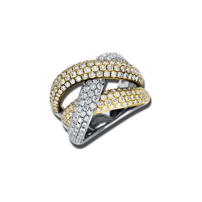 Ring Brogle Selection Statement aus 750 Gelbgold, 750 Roségold und 750 Weißgold mit 250 Brillanten (3,2 Karat) bei Brogle