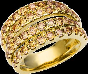 Ring Brogle Selection Statement aus 585 Gelbgold mit 52 Brillanten (2,45 Karat)