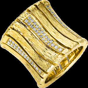 Ring Brogle Selection Statement aus 750 Gelbgold mit 138 Brillanten (0,8 Karat)
