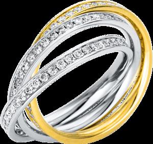 Ring Brogle Selection Statement aus 750 Weißgold und 750 Gelbgold mit 135 Brillanten (1,17 Karat)