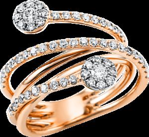Ring Brogle Selection Statement aus 750 Roségold und 750 Weißgold mit 61 Brillanten (0,87 Karat)