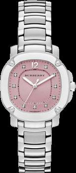 Damenuhr Burberry The Britain 34mm mit Diamanten, pinkem Zifferblatt und Edelstahlarmband