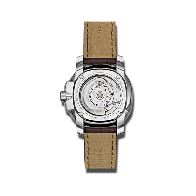 Herrenuhr Burberry The Britain Automatik 43mm mit beigefarbenem Zifferblatt und Alligatorenleder-Armband