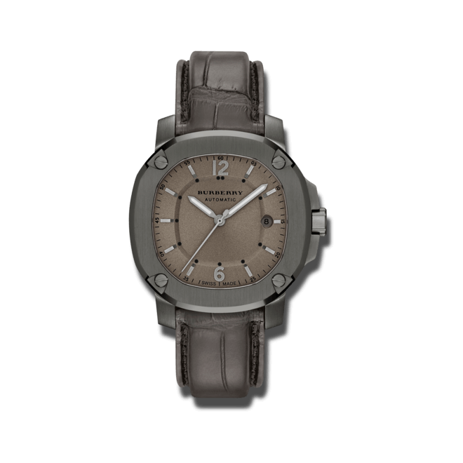 Herrenuhr Burberry The Britain Automatik 43mm mit braunem Zifferblatt und Alligatorenleder-Armband