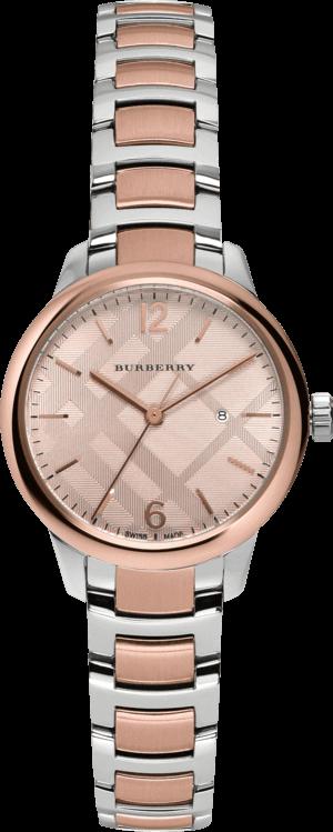 Damenuhr Burberry Classic Round 32mm mit sandfarbenem Zifferblatt und Edelstahlarmband