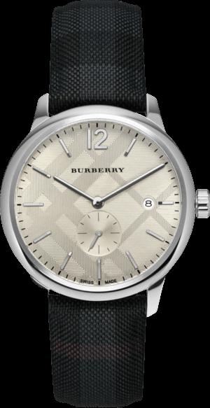 Herrenuhr Burberry Classic Round 40mm mit weißem Zifferblatt und Armband aus Kalbsleder mit Textil