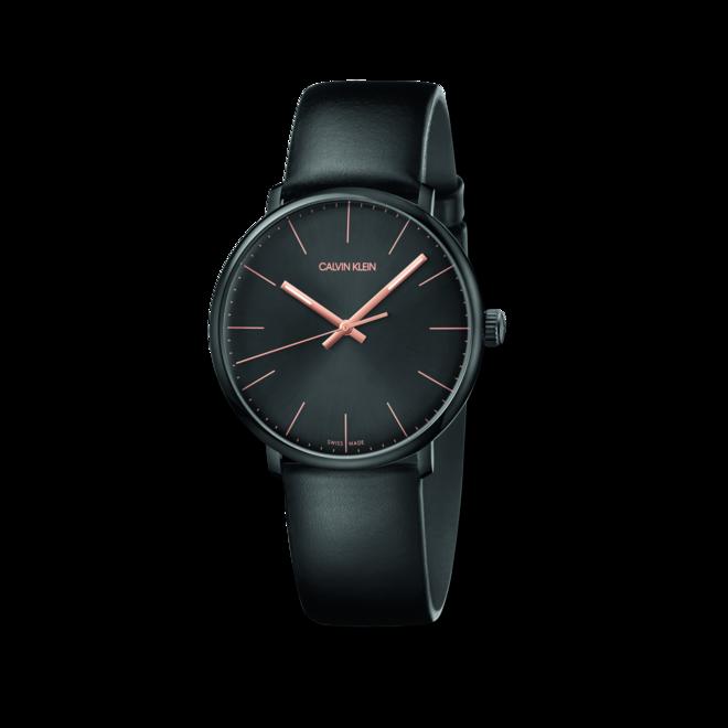 Herrenuhr Calvin Klein High Noon mit schwarzem Zifferblatt und Kalbsleder-Armband