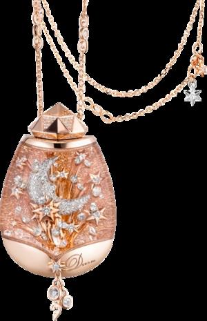 Halskette mit Anhänger Capolavoro Snow Globe Lucky Star aus 750 Roségold und 750 Weißgold mit 371 Brillanten (1,93 Karat)