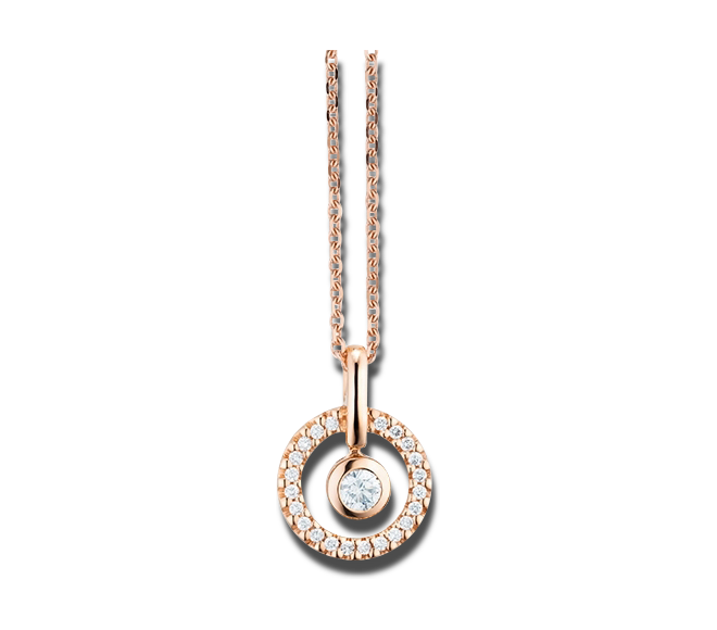 Halskette mit Anhänger Capolavoro Glam Motion aus 750 Roségold mit 23 Brillanten (0,16 Karat) bei Brogle