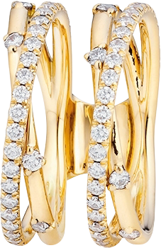 Ring Capolavoro Jaquet aus 750 Gelbgold mit 74 Brillanten (0,39 Karat)