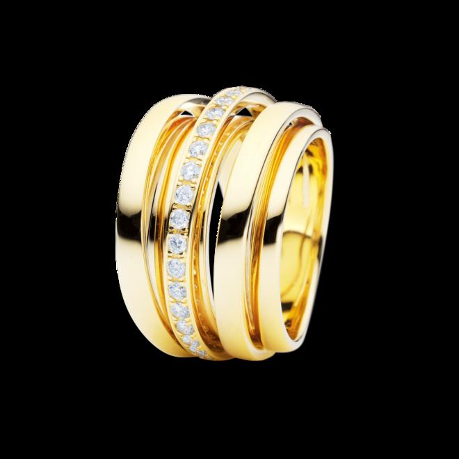 Ring Capolavoro La Donna aus 750 Gelbgold mit 20 Brillanten (0,4 Karat)