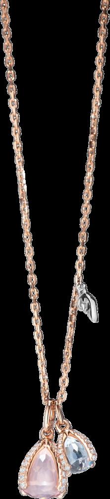 Halskette mit Anhänger Capolavoro Capriccio aus 750 Roségold mit 1 Rosenquarz, 1 Sky-Topas und 57 Brillanten (0,29 Karat)
