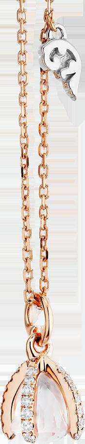 Halskette mit Anhänger Capolavoro Capriccio aus 750 Roségold mit 1 Rosenquarz und 29 Brillanten (0,15 Karat)