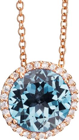 Anhänger Capolavoro Espressivo aus 750 Roségold mit 1 Topas und 28 Diamanten (0,14 Karat)