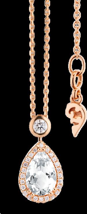 Halskette mit Anhänger Capolavoro Espressivo aus 750 Roségold mit 1 Bergkristall und 26 Brillanten (0,2 Karat)