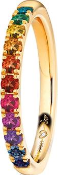 Memoirering Capolavoro Rainbow aus 750 Gelbgold mit 11 Saphiren und 1 Brillant (0,005 Karat) halb ausgefasst