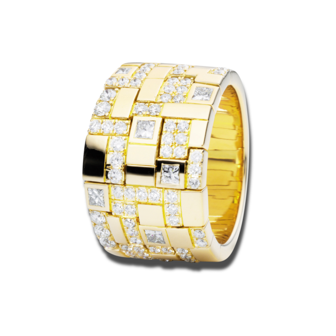 Ring Capolavoro Palazzo aus 750 Gelbgold mit 72 Diamanten (1,15 Karat) bei Brogle