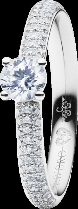 Solitairering Capolavoro Diamante in Amore 4-er Krappe aus 750 Weißgold mit mehreren Brillanten (0,255 Karat)