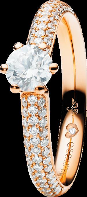 Solitairering Capolavoro Diamante in Amore 6-er Krappe aus 750 Roségold mit mehreren Brillanten (0,255 Karat)
