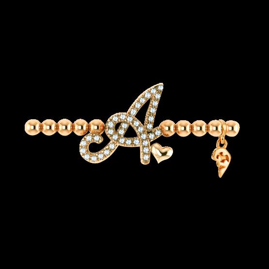 Armband mit Anhänger Capolavoro Poesia Flessibile Buchstabe A aus 750 Gelbgold mit 33 Brillanten (0,13 Karat)