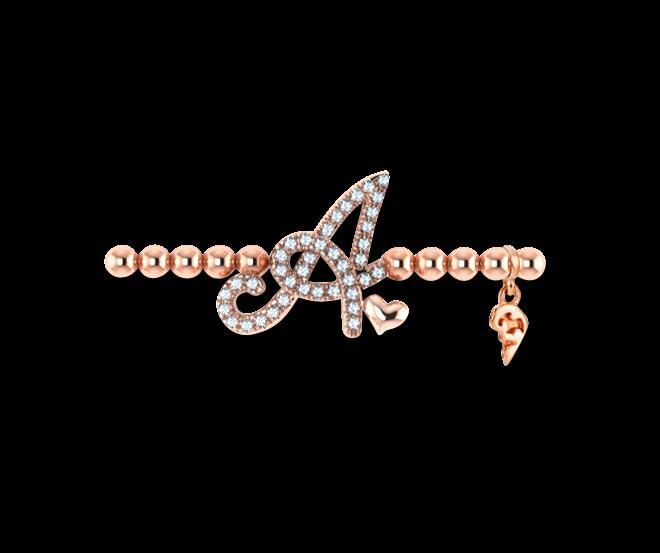 Armband mit Anhänger Capolavoro Poesia Flessibile Buchstabe A aus 750 Roségold mit 33 Brillanten (0,13 Karat) bei Brogle