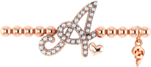 Armband mit Anhänger Capolavoro Poesia Flessibile Buchstabe A aus 750 Roségold mit 33 Brillanten (0,13 Karat)