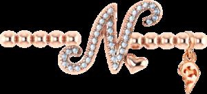Armband mit Anhänger Capolavoro Poesia Flessibile Buchstabe N aus 750 Roségold mit 33 Brillanten (0,13 Karat)
