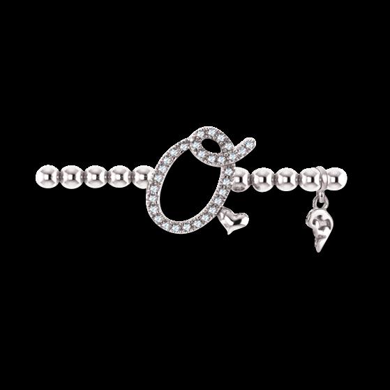 Armband mit Anhänger Capolavoro Poesia Flessibile Buchstabe O aus 750 Weißgold mit 33 Brillanten (0,13 Karat)