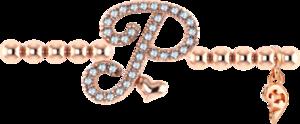 Armband mit Anhänger Capolavoro Poesia Flessibile Buchstabe P aus 750 Roségold mit 33 Brillanten (0,13 Karat)