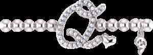 Armband mit Anhänger Capolavoro Poesia Flessibile Buchstabe Q aus 750 Weißgold mit 33 Brillanten (0,13 Karat)