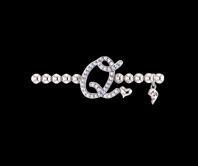 Armband mit Anhänger Capolavoro Poesia Flessibile Buchstabe Q aus 750 Weißgold mit 33 Brillanten (0,13 Karat) bei Brogle
