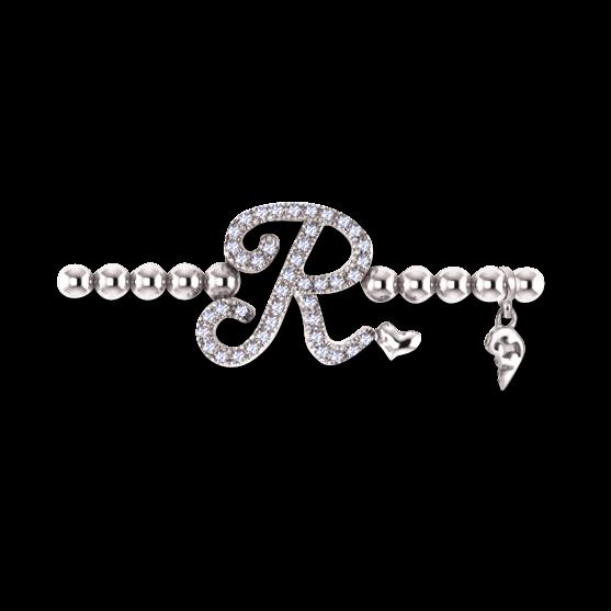 Armband mit Anhänger Capolavoro Poesia Flessibile Buchstabe R aus 750 Weißgold mit 33 Brillanten (0,13 Karat)