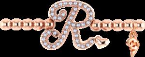 Armband mit Anhänger Capolavoro Poesia Flessibile Buchstabe R aus 750 Roségold mit 33 Brillanten (0,13 Karat)