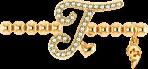 Armband mit Anhänger Capolavoro Poesia Flessibile Buchstabe T aus 750 Gelbgold mit 33 Brillanten (0,13 Karat)