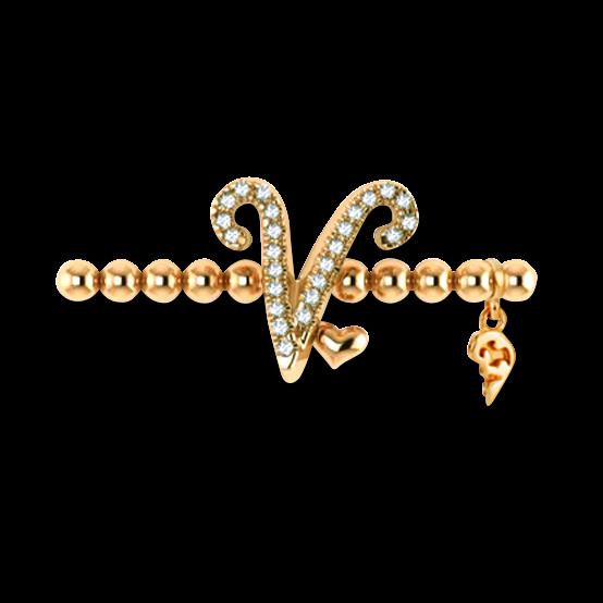 Armband mit Anhänger Capolavoro Poesia Flessibile Buchstabe V aus 750 Gelbgold mit 33 Brillanten (0,13 Karat)