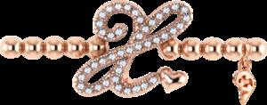 Armband mit Anhänger Capolavoro Poesia Flessibile Buchstabe X aus 750 Roségold mit 33 Brillanten (0,13 Karat)