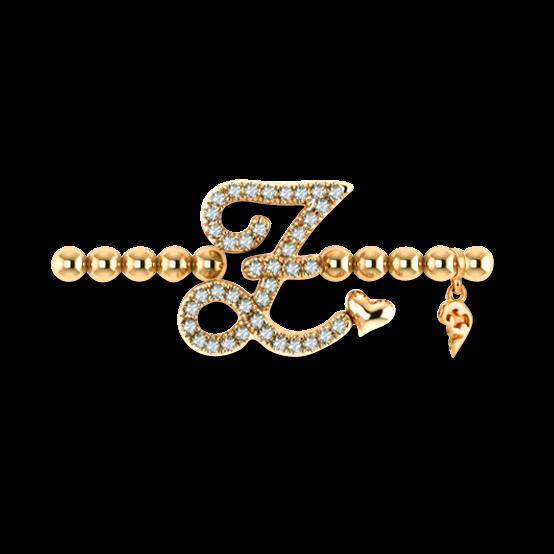 Armband mit Anhänger Capolavoro Poesia Flessibile Buchstabe Z aus 750 Gelbgold mit 33 Brillanten (0,13 Karat)