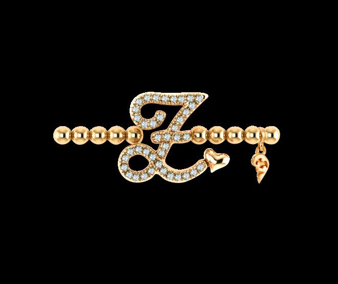 Armband mit Anhänger Capolavoro Poesia Flessibile Buchstabe Z aus 750 Gelbgold mit 33 Brillanten (0,13 Karat) bei Brogle