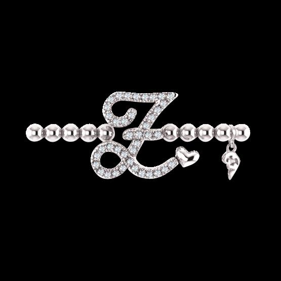 Armband mit Anhänger Capolavoro Poesia Flessibile Buchstabe Z aus 750 Weißgold mit 33 Brillanten (0,13 Karat)