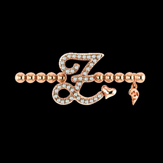 Armband mit Anhänger Capolavoro Poesia Flessibile Buchstabe Z aus 750 Roségold mit 33 Brillanten (0,13 Karat)