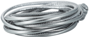 Armband Capolavoro Silber Metallic aus Kalbsleder Größe 42 cm
