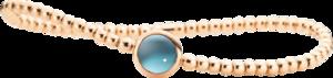 Armband Capolavoro Velluto Flessibile aus 750 Roségold mit 1 Blautopas Größe 17 cm